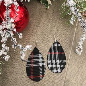 Handmade plaid lightweight teardrop earrings